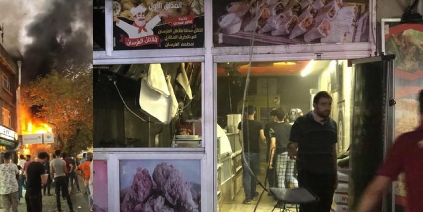 Dönerci dükkanı alev alev yandı