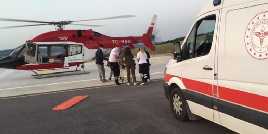 İmdadına helikopter ambulans yetişti